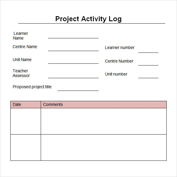 6 Sample Printable Work Log Templates | Sample Templates