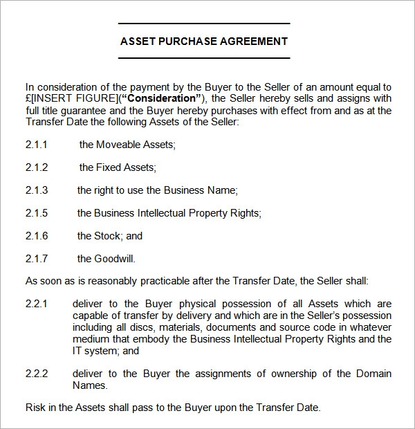 Asset Purchase Agreement 7 Free Pdf Doc Download – Purchase Agreement Sample