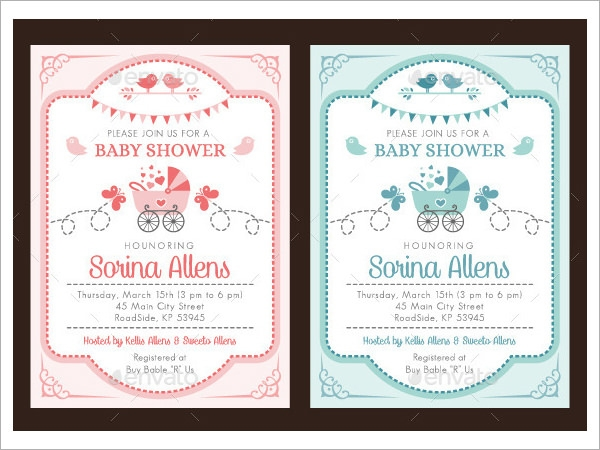 Baby Shower Invitation Template 19 Download In Vector PSD – Baby Shower Invitation Templates Word
