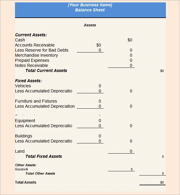 Personal Balance Sheet Template Free Download Sample Balance Sheet 5 Documents In Pdf Word