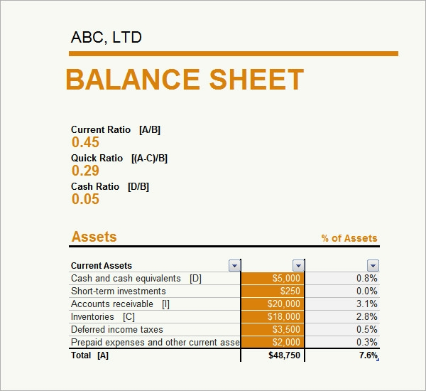 Sample Balance Sheet   Documents In Pdf Word Excel
