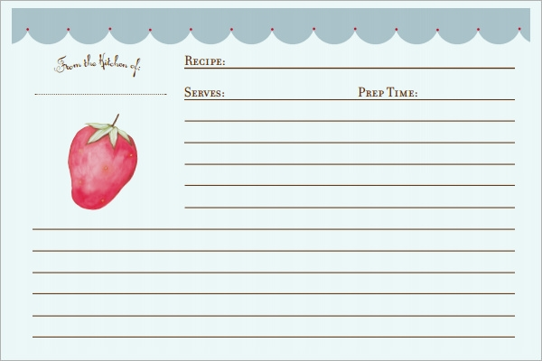 Sample recipe card templates