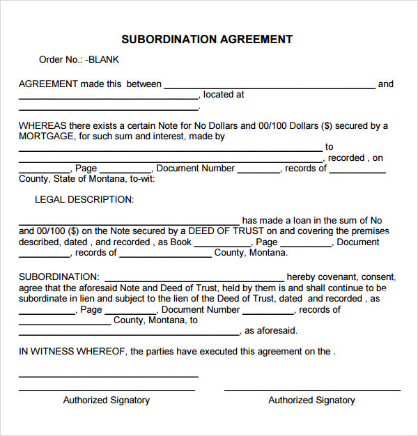 Blank Subordination Agreement