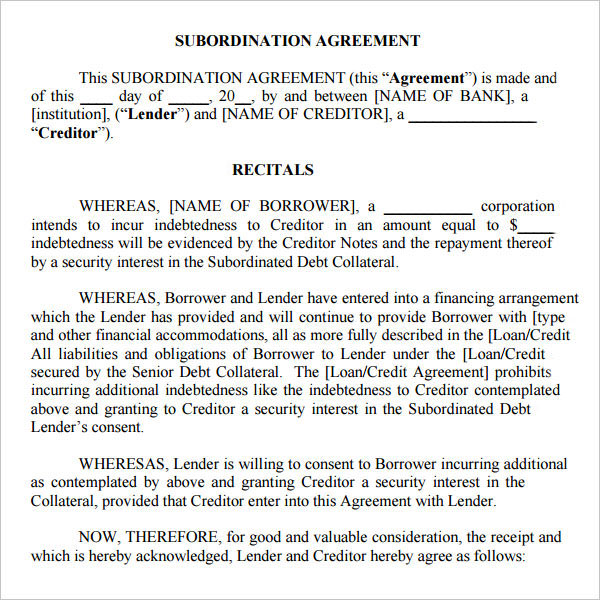 Mortgage Subordination Agreement Template Sample Subordination ...