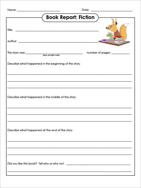 Book Report Forms Template  Book Report Template Free