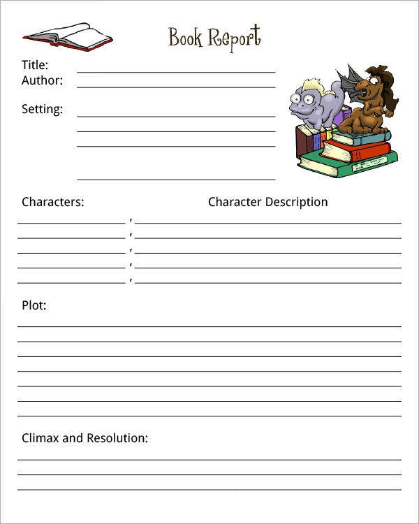 Book Report Template | Sample Templates