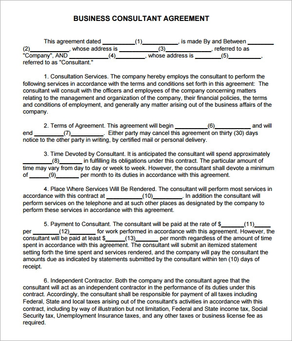 Consulting Agreement   Free   Doc Download