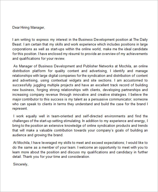 sample cover letter highlighting experience
