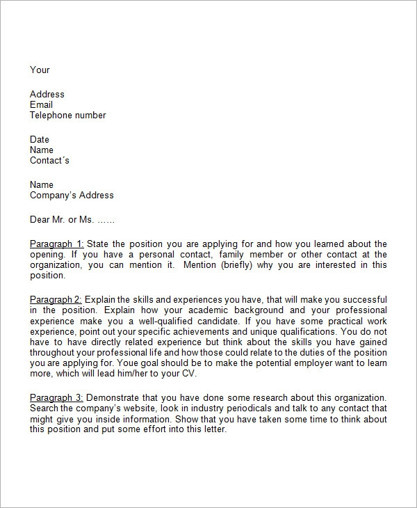 business cover letter template - Cover Letter To Company