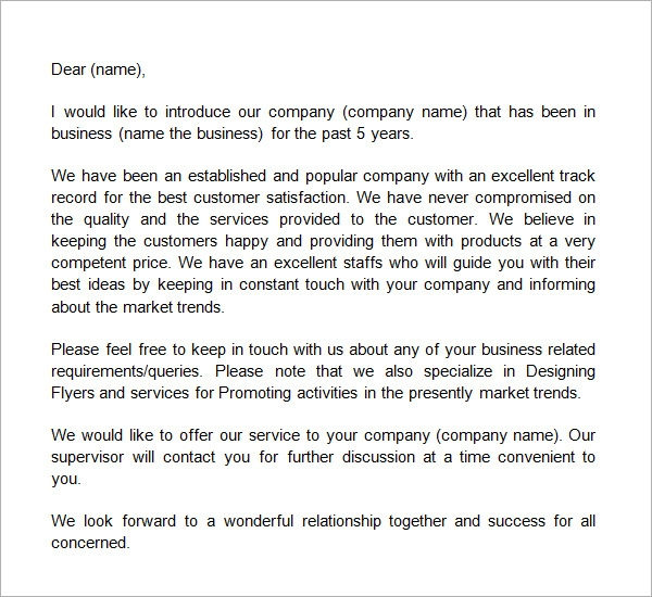 Sample business introduction letter template business introduction letters 9 download free documents in pdf spiritdancerdesigns Image collections