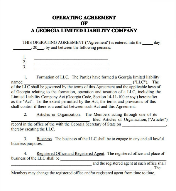 Operating Agreement   Free Pdf  Doc Download
