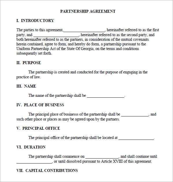 corporate partnership agreement template 11 sample business partnership agreement templates to
