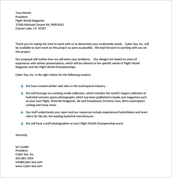 Business Proposal Cover Letter Example Business Proposal Cover – Example Business Letter