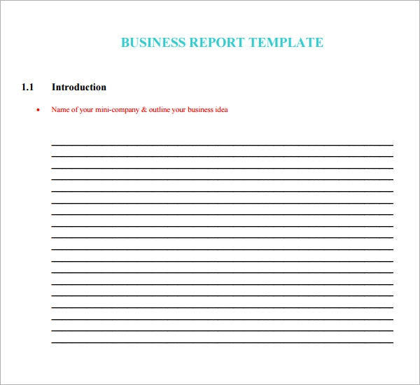 Sample business report template accmission Images
