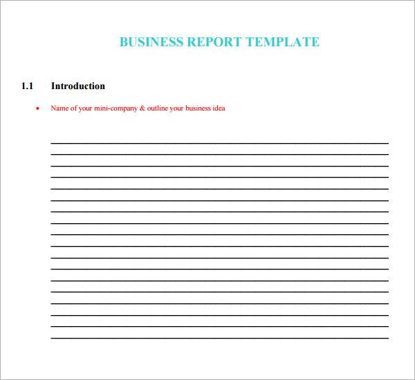 Sample business report template wajeb Choice Image