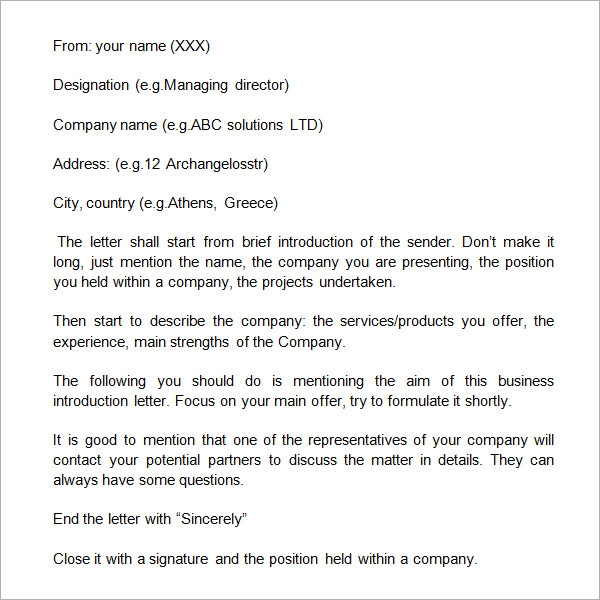 business self introduction letter format
