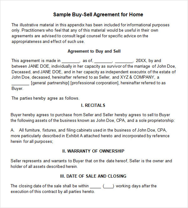 Sample Buy Sell Agreement   Free Documents In  Word