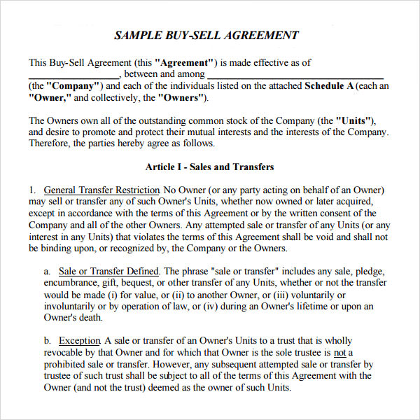 Sample Buy Sell Agreement   Free Documents In Pdf Word