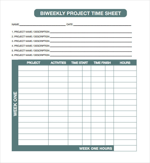 time log sheets