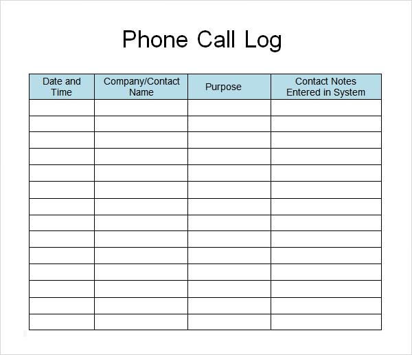 phone call log sheet templates