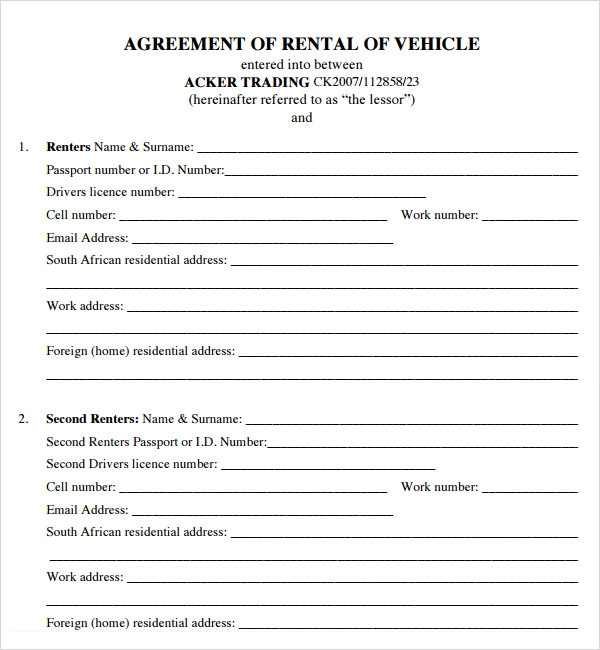 Car lease agreement forms