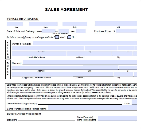 Doc12832138 Used Car Purchase Agreement Form sales contract – Vehicle Sales Contract