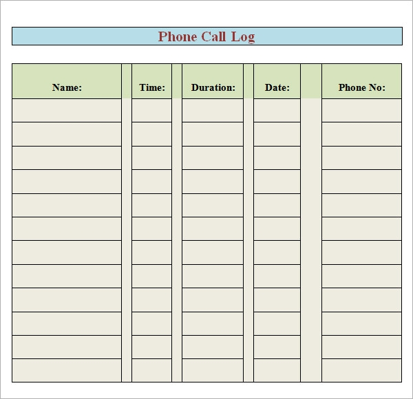 Sample Printable Phone Log Templates