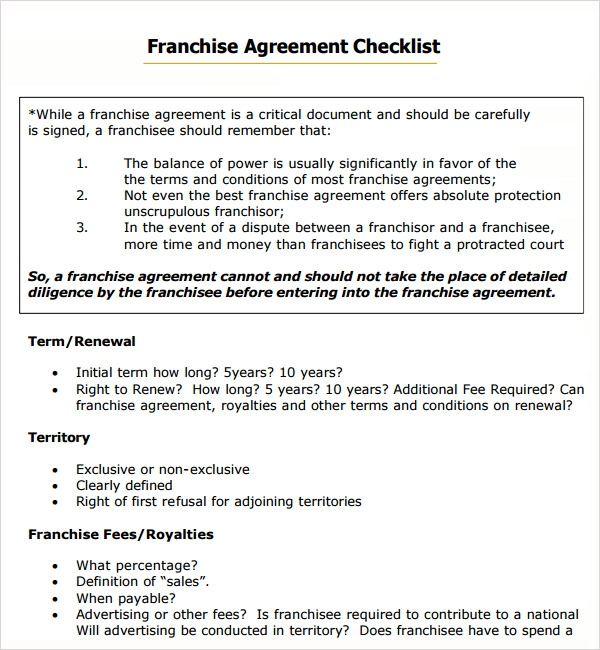 Sample franchise agreement 13 documents in pdf word checklist basic franchise agreement terms template platinumwayz