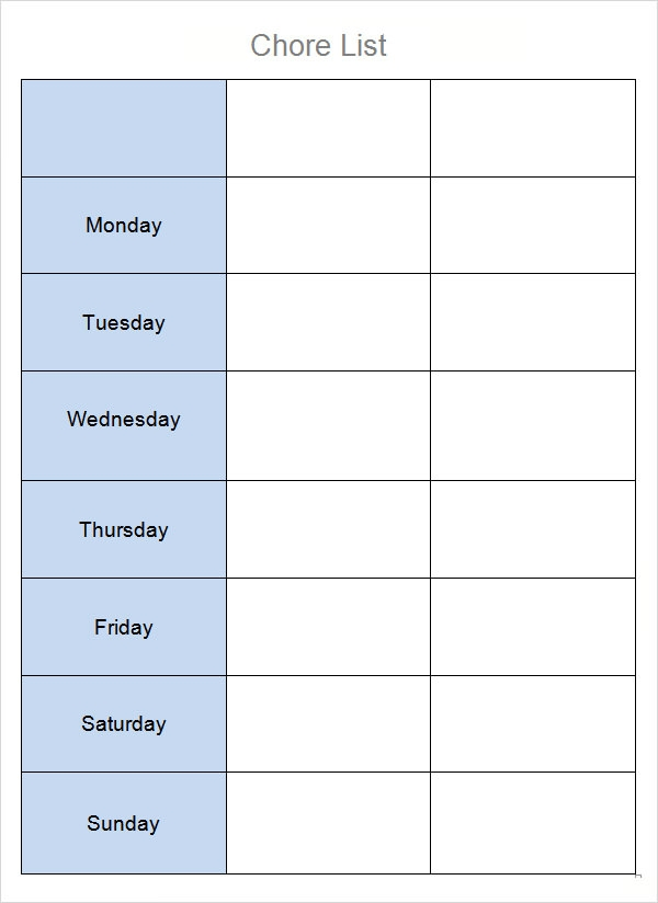8 chore list templates sample templates for Chore chart for adults templates