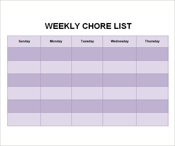 Chore List Templates 7 Free Documents Download in Word Excel PDF – Chore List Template