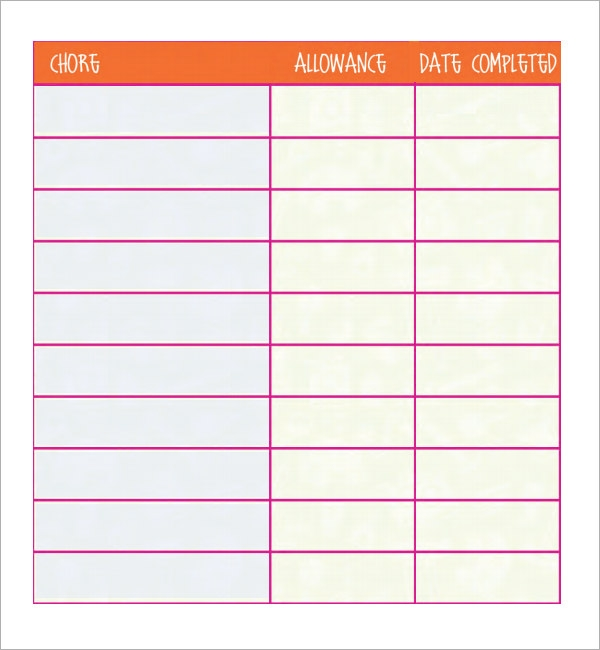 Chore List Templates  PDFDoc Sample Templates vCk5NbsK