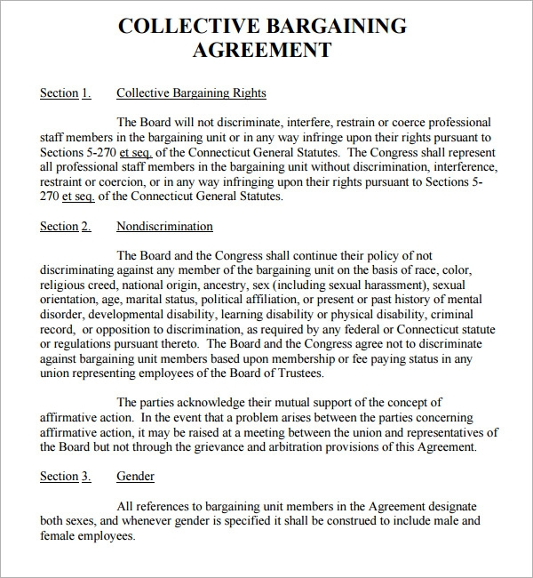 Collective Bargaining Agreement - 5 Free Pdf , Doc Download
