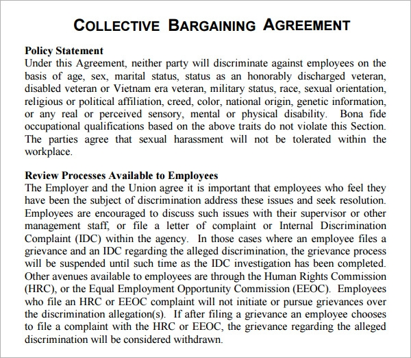 collective bargaining agreements Collective bargaining negotiation process between labors and management in an organization.