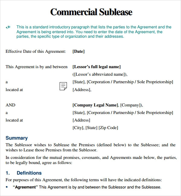 Commercial Sublease Agreement Template Us Lawdepot  MandegarInfo
