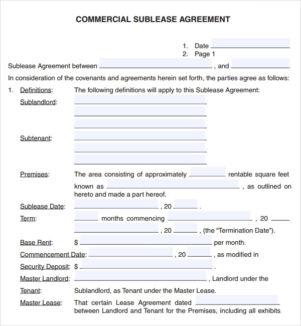 Commercial lease agreement 7 free download for pdf for Subletting lease agreement template