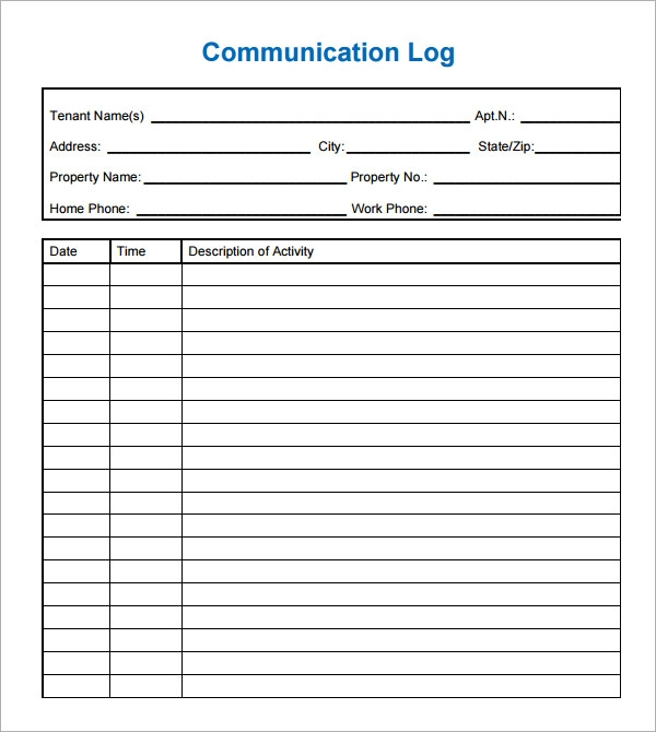 Sample Communication Log   Documents In Pdf Word