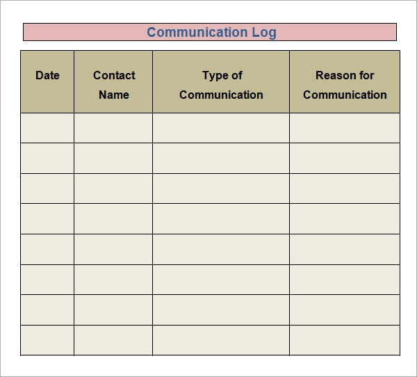 Daily Communication Log Template Pictures to Pin – Communication Log Template