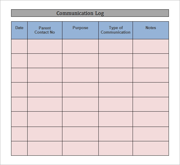 business communication log template