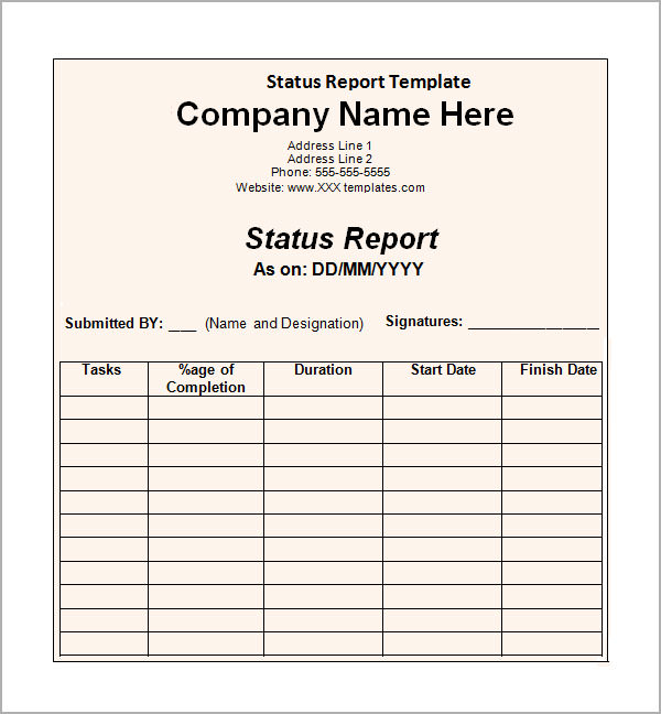 Sample Status Report Template  Best Business Template