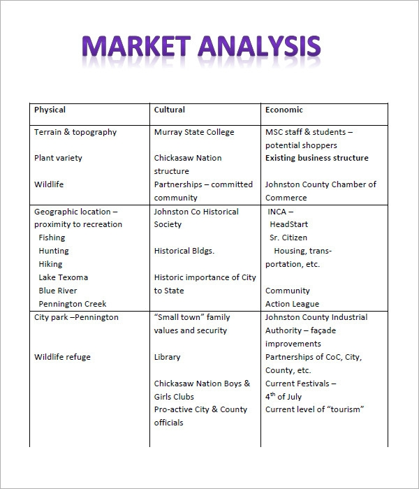 Sample Market Analysis Template   Free Documents In Pdf Excel