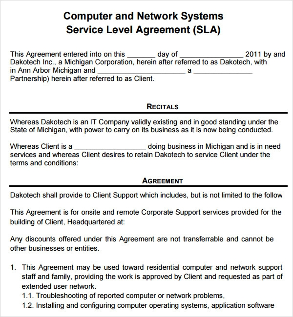 Sample Service Level Agreements