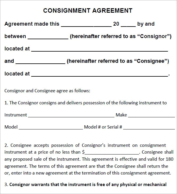 Consignment Agreement   Download Documents In Pdf  Word