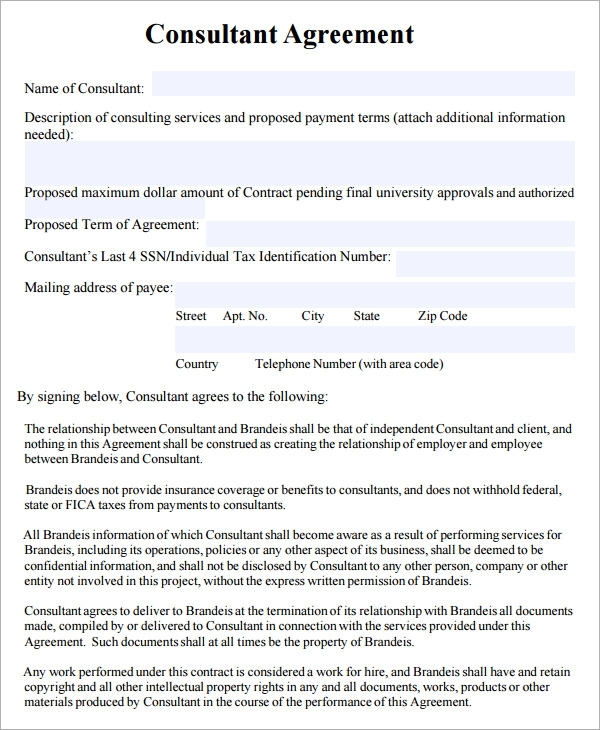 Consulting Contract Agreement Template
