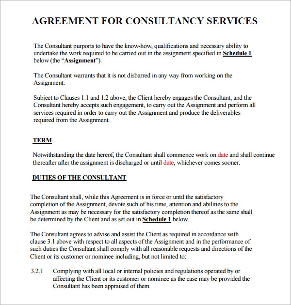 Consulting Agreement 7 Free Pdf Doc Download