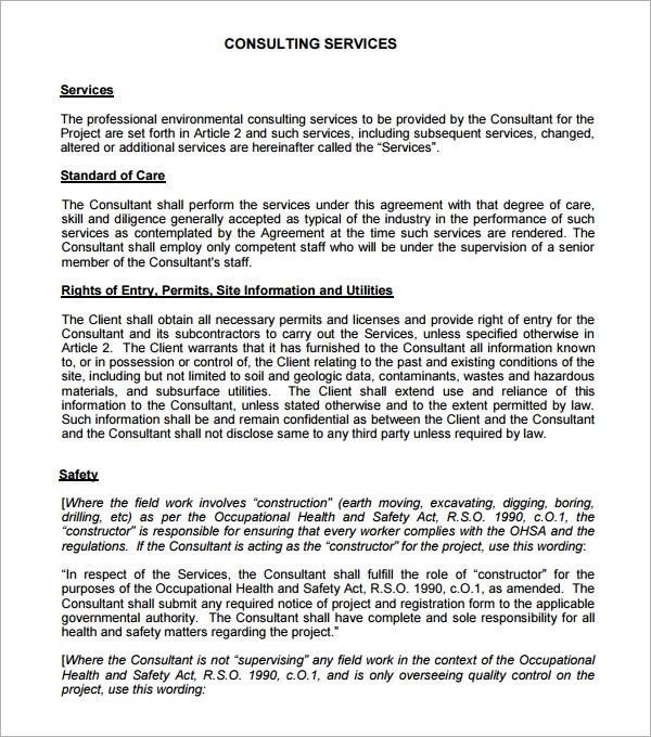 Consulting Agreement 5 Free Pdf Doc Download – Consultant Contract Template
