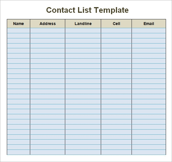 phone list template for word