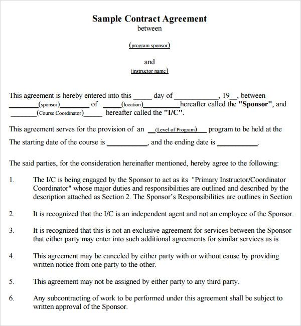 Example of agreement between two parties