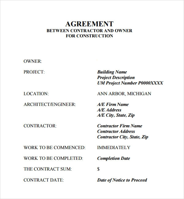 Free Contractor Contract Template - Agreement between owner and contractor template