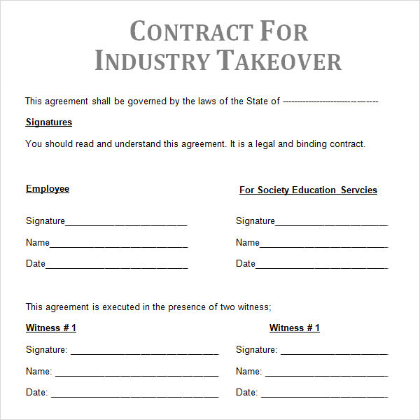 Sample Contractual Agreement   Documents In Pdf Word