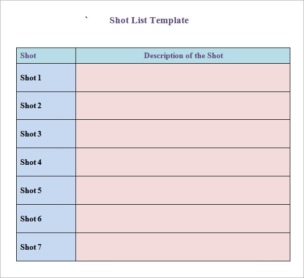 Shot List Template